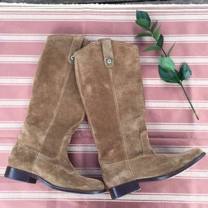 Frye Knee High Tan Suede Boots
